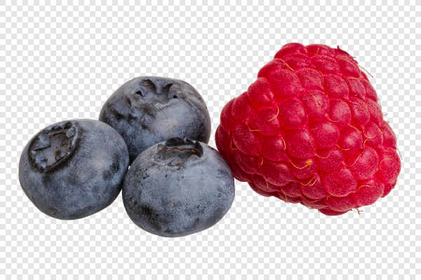 Raspberry and blueberries — preview
