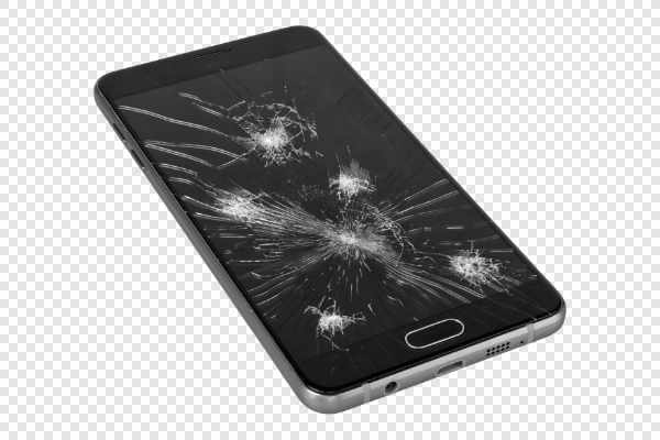 Smartphone with broken screen — preview