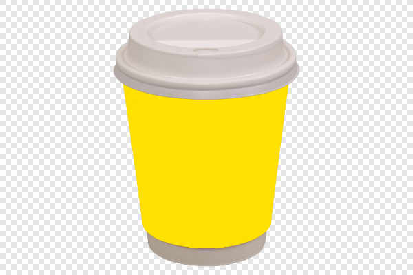 Yellow coffee drinking cup — preview
