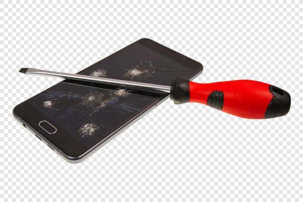 Smartphone with broken screen and screwdriver — preview