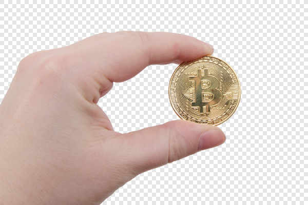 Bitcoin coin in a hand — preview